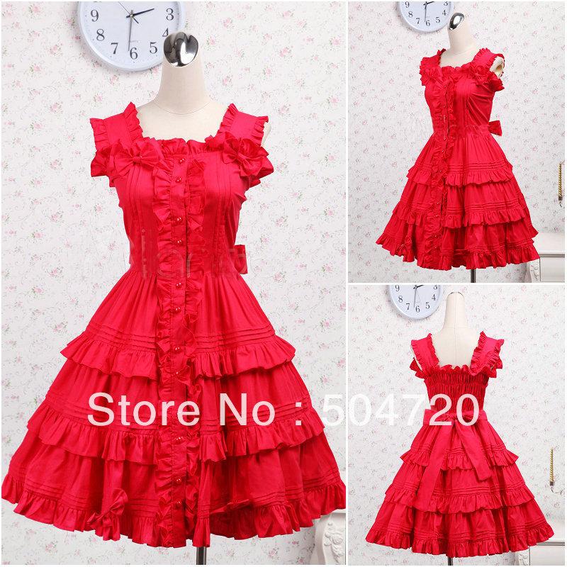 Freeshipping!V-1209 Red cotton Sweet School Lolita Dress/victorian dress Halloween costume US6-26 XS-6XLÎäåæäà è àêñåññóàðû<br><br>