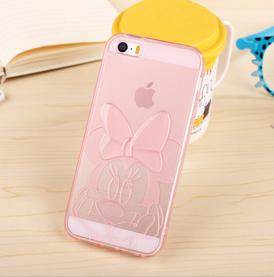 Hot Phone Cases! Top TPU Soft Cartoon Mickey Minnie Model Transparent Case Silicone Cover Skin Protector For iPhone 5 5s' L10(China (Mainland))
