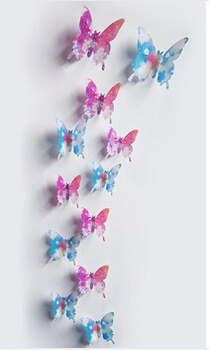 12Pcs/lot New 3D Butterfly / Flower / Bat Wedding Decoration / PVC Wall Sticker Decals Kid Room Home Decor Adesivo De Parede