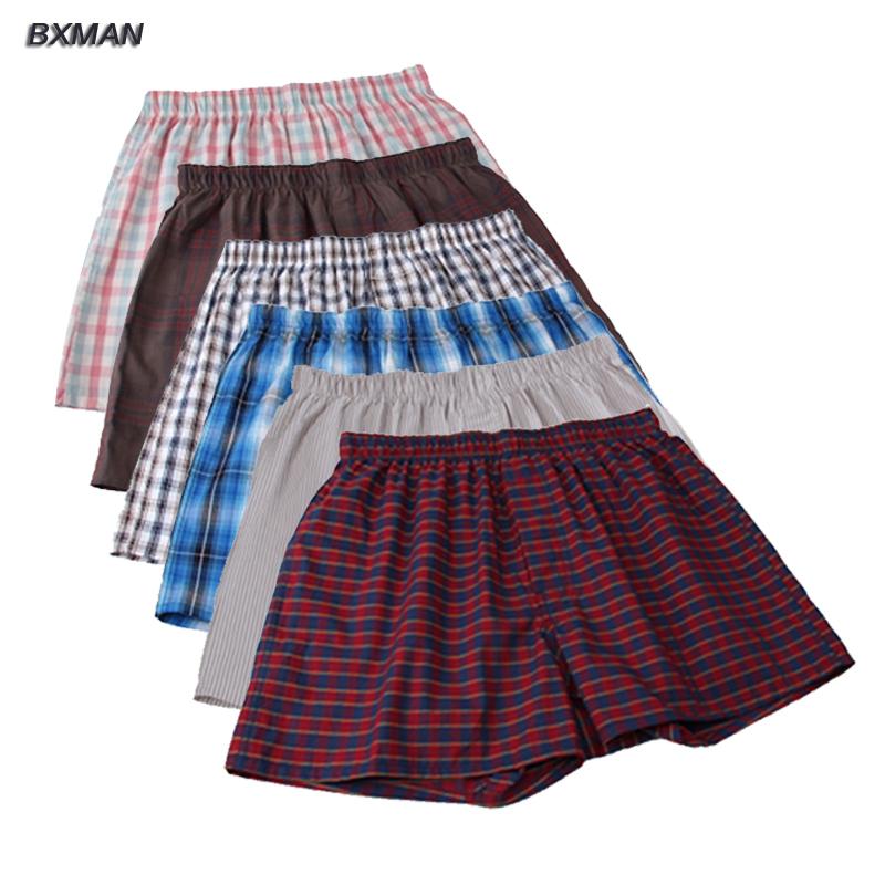 6Pieces/Lot BXMAN High quality Classic Plaid Men Boxer Shorts Large Size 3XL-4XL Mens Underwear Cotton Mix Colors(China (Mainland))