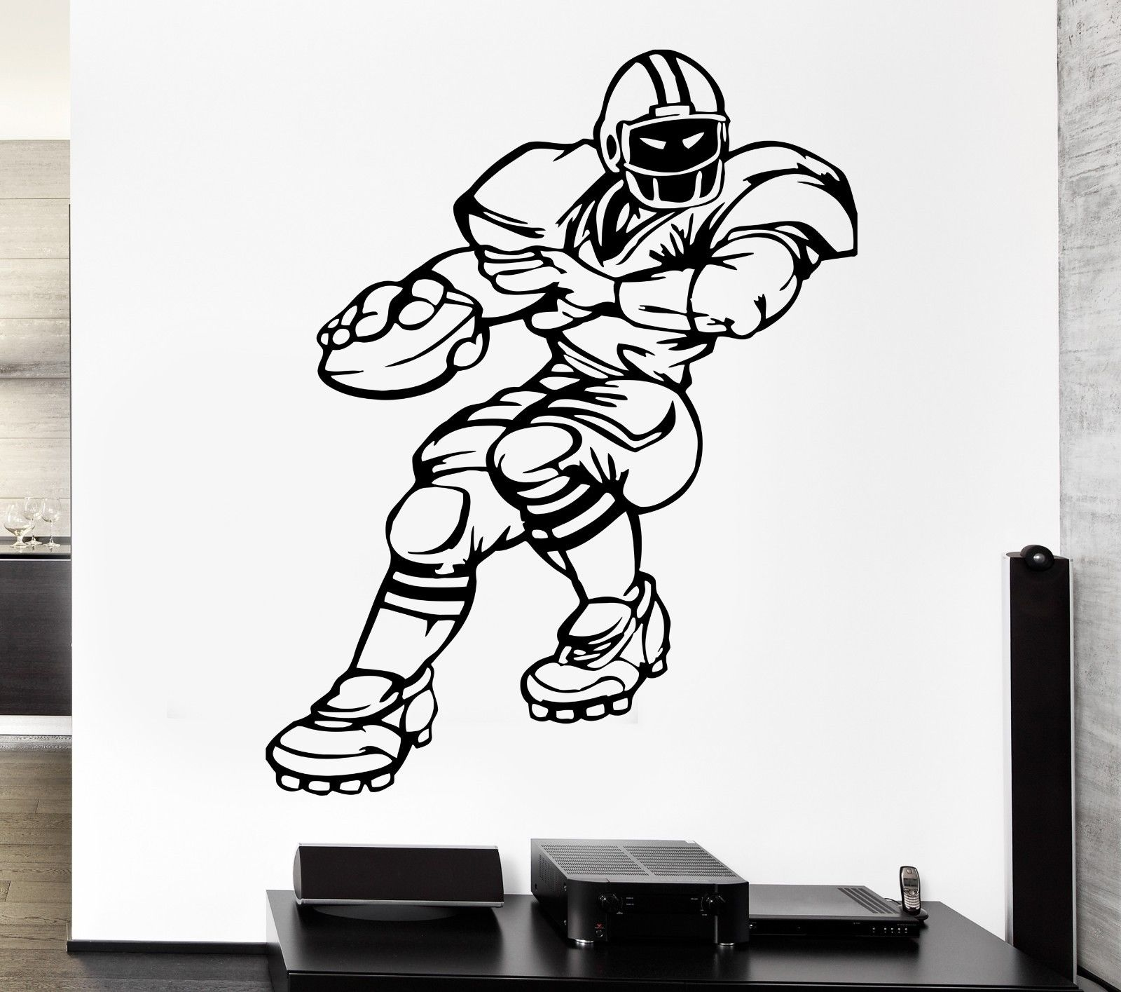 new kids room Wall Decal Sports Game Football Player Strong Uniforms Vinyl Stickers free shipping(China (Mainland))
