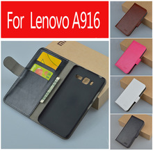 High quality luxury leather case for Lenovo A916 / A 916 flip cover case housing With card slot LenovoA916 phone covers cases