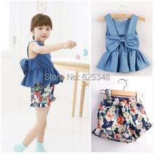 2015 New fashion girl's clothing set bow denim t-shirt+floral shorts 2pcs/set children summer set top quality baby set Retail(China (Mainland))