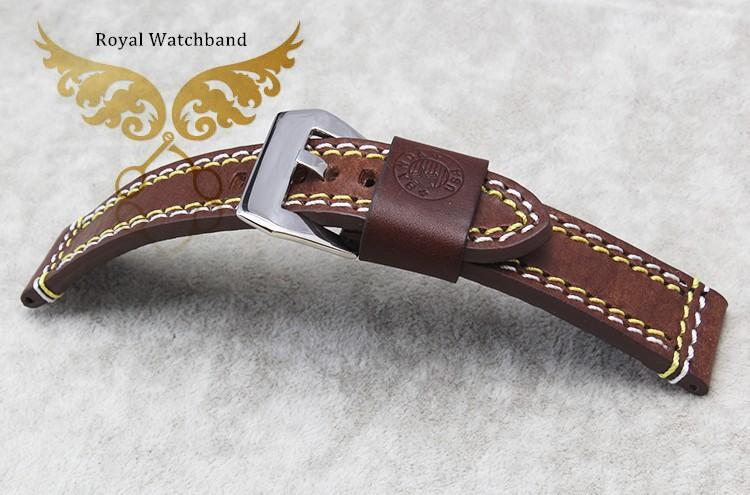 22 мм 24 мм мужчины новый высокое качество кофе натуральная кожа часы ремень с пряжкой бесплатная доставка