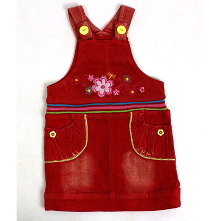 Baby Sundresses red Frocks Children cute Corduroy Dress yellow snap dragonfly floral embroidery summer New Crochet ZQ ND2(China (Mainland))