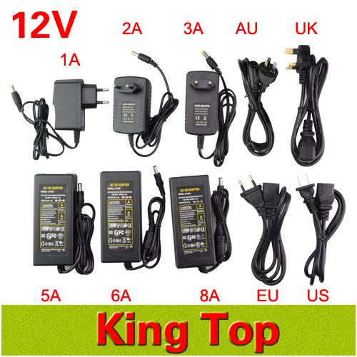 DC LED Power Supply Charger Transformer Adapter 1A-8A 110V 220V to 12V For RGB LED Strip 5050 3528 EU US AU UK Cord Plug Socket(China (Mainland))