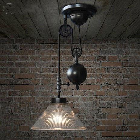vintage loft rh lamp retractable glass pulley lifting pendant light industrial bar counter lamp. Black Bedroom Furniture Sets. Home Design Ideas