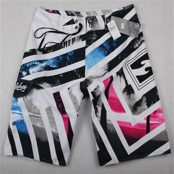 HOT Brand Mens Board Shorts Bermuda Surf Boardshorts Summer Swimwear Beach wear Swim Short Quick Dry Silver Big Size 3XL 4XL 5XL