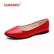8 Colors 2016 Fashion Soft Shoes For Female Women Flat Round Toe Daily Casual Shoe Plus Size 40 Patent Leather Women Flat Shoes