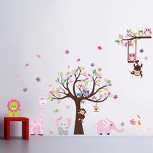 Jungle Zoo With Owl Monkey Wall Decal Wallpaper Wall Sticker Wall Decor For Kid Room Nursery