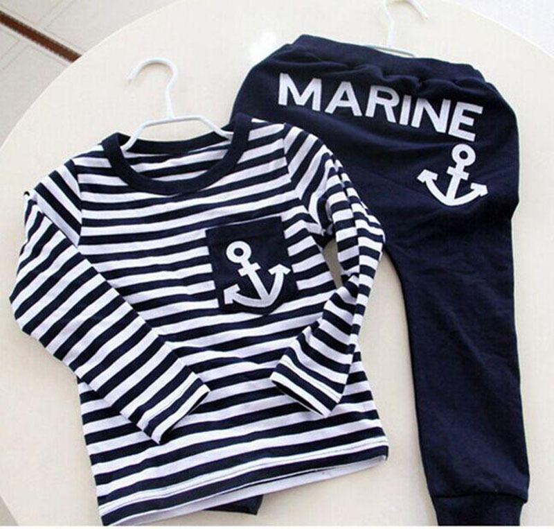 Spring Kids Clothes, Navy Long Sleeve Pullover Striped Sports Suit, Hot Sale New 2016 Casual Boys Clothing Set(China (Mainland))
