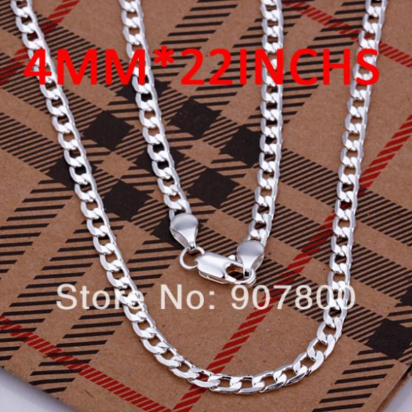 Fashion Jewelry 925 sterling silver necklace 4 mm16 30 inch man with classical charm jewelry with
