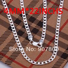 Low price wholesale high quality the 4MM 22inches 925 silver charm chain necklace fashion men's jewelry free shipping 10pcs/lot