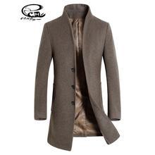 Men Wool Coat Slim Fit Men Middle Long Coats And Jackets Solid Color Male Manteau Homme Overcoat Winter Woolen Coat Men