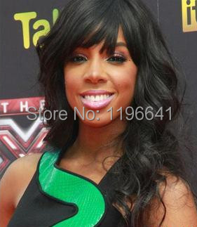 beautiful black body wavy Indian Remy hair wigs with bang Kelly rowland hairstyle lace front wig for black woman
