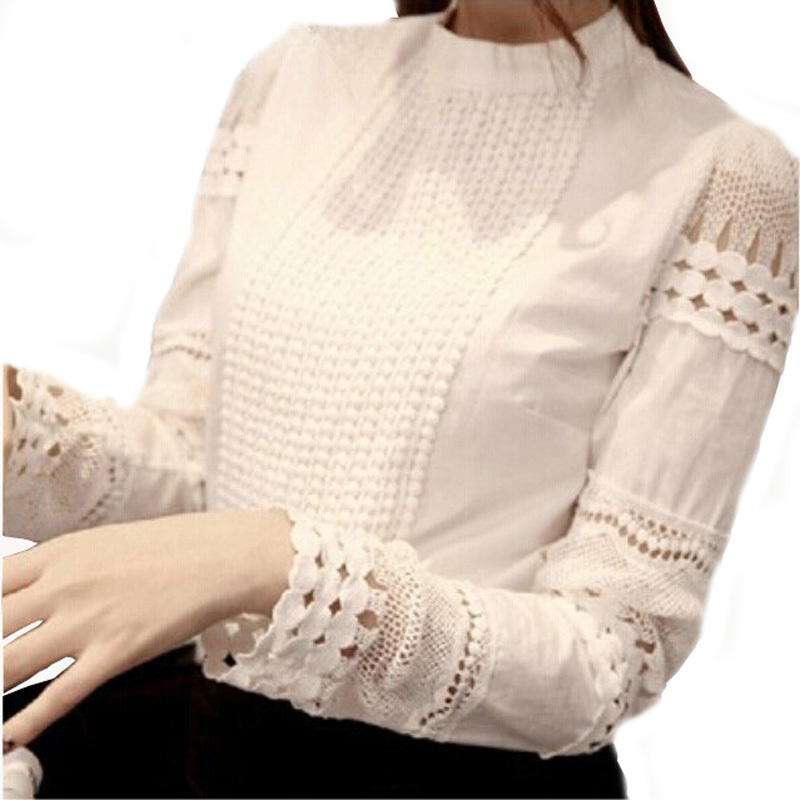 2015 Summer Style Women Blouses Plus Size Women's Shirt Elegant Hollow Out Lace Slim Chiffon Blouse Blusas Femininas(China (Mainland))