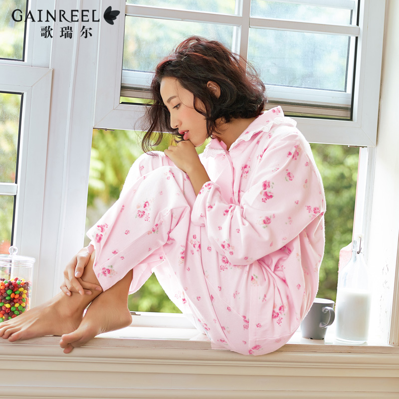 Song Riel autumn and winter cotton long sleeved female models fresh sweet printed pajamas comfortable tracksuit