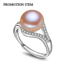 100% real freshwater pearl ring for women 925 sterling silver adjustable ring with AAA zircon 9-10mm AAAA natural pearl jewelry(China (Mainland))