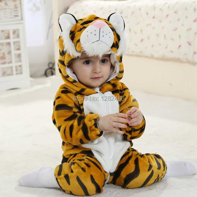 2015 New cute animal style, Tiger baby hooded  rompers, unisex branded baby clothes,  long sleeve baby romper sets for 0-2 yrs<br><br>Aliexpress