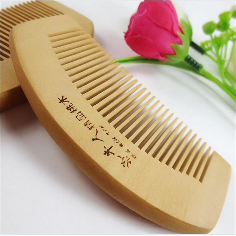 Useful Natural Wide Tooth Peach Wood No-static Massage Hair Brush Wood Comb On Sale Hair Styling Tools(China (Mainland))
