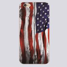 Wood usa flag Design black skin case cover cell mobile phone cases for iphone 4 4s 5 5c 5s 6 6s 6plus hard shell