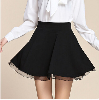 Black Short A Line Skirt