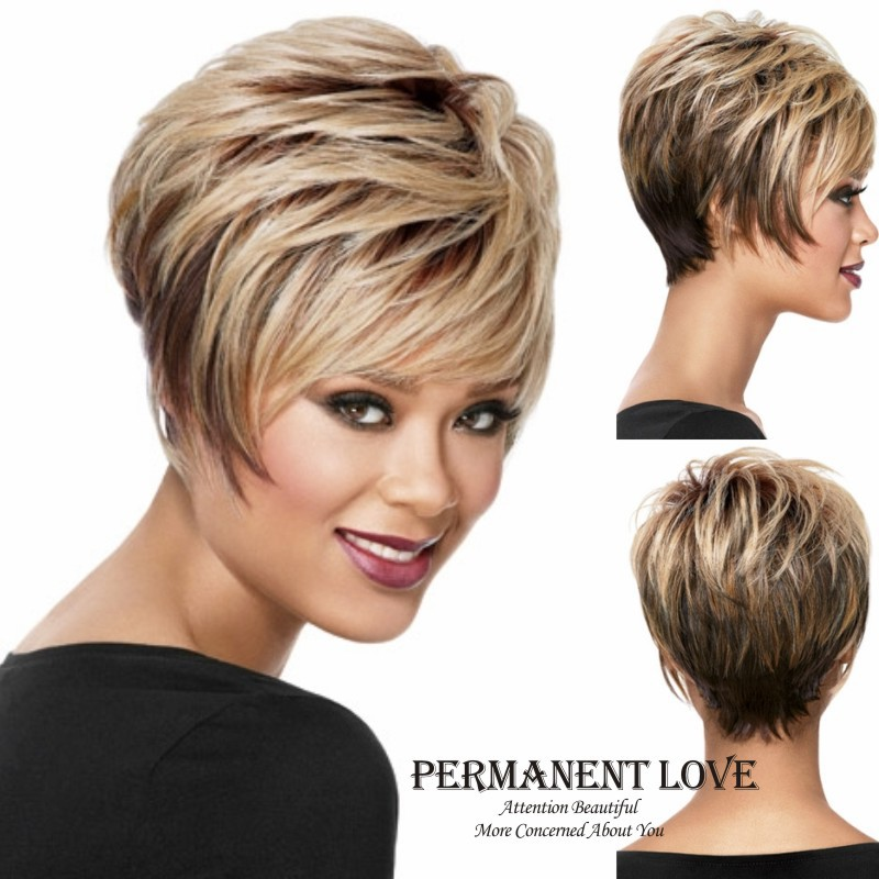 2015 Heat Resistant Synthetic Light Brown sexy short Straight Hair Wigs for Women Wigs<br><br>Aliexpress