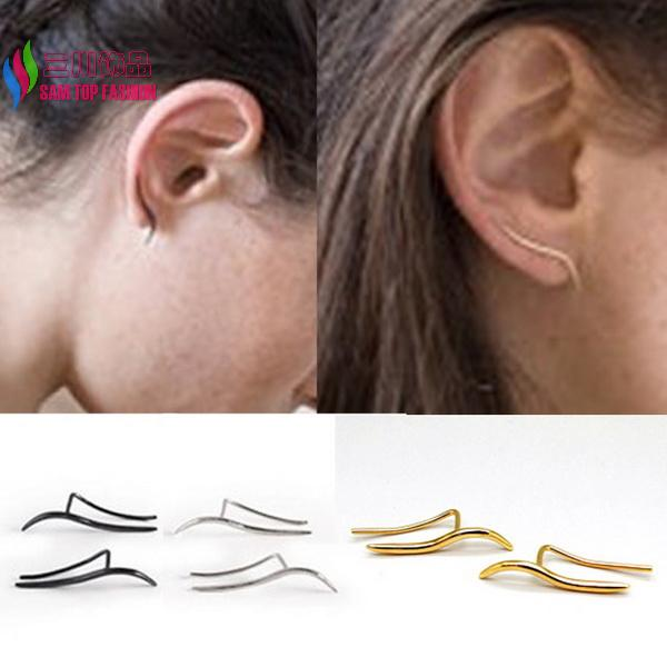 1Piece cool fashion punk gold silver black high quality punk copper metal S piercing ear stud earrings for women bijoux(China (Mainland))