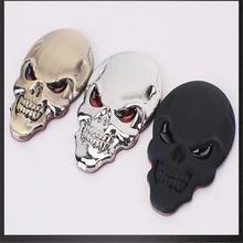 4 couleurs métal crâne squelette 3 DChrome emblème Badge Decal Sticker auto moto(China (Mainland))