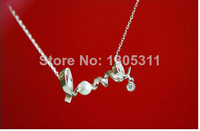Korean Style White Pearl Crystal Letter Love pendant Necklace For Women Clear Crystal White Pearl Letter Love Pendant Chain (China (Mainland))