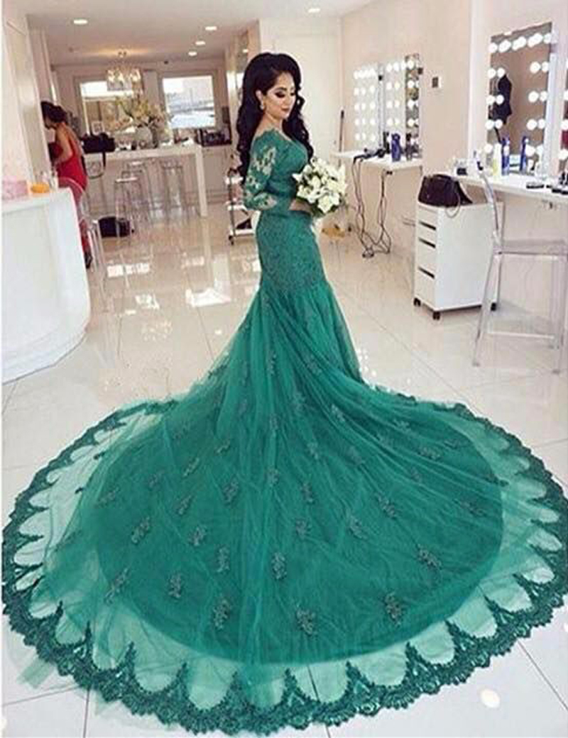 New Design Long Evening Dress 2016 Elegant Appliques Evening Gown Chiffon Mermaid Floor-Length Chapel Train Prom Party Gown(China (Mainland))