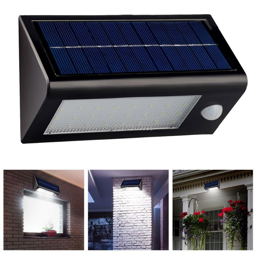 bright 32 led solar powered motion sensor wall lamp. Black Bedroom Furniture Sets. Home Design Ideas