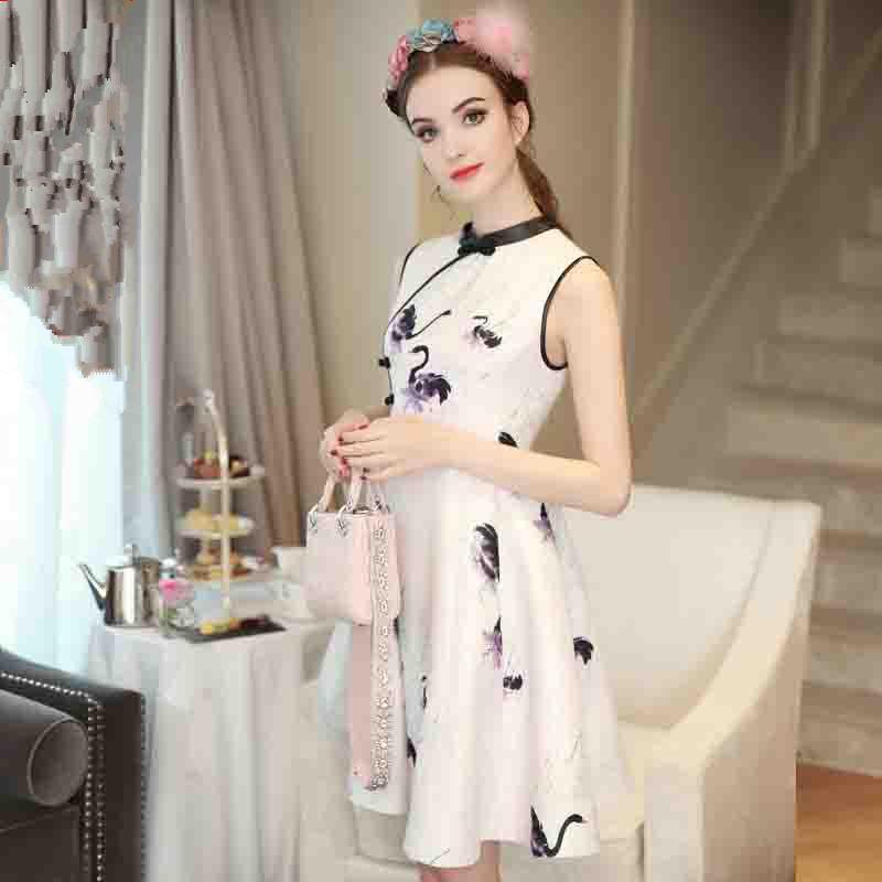 women summer dress sleeveless chinese style chipao swan print jacquard dresses 2016 new arrival hot sale fashion clothes vestido(China (Mainland))