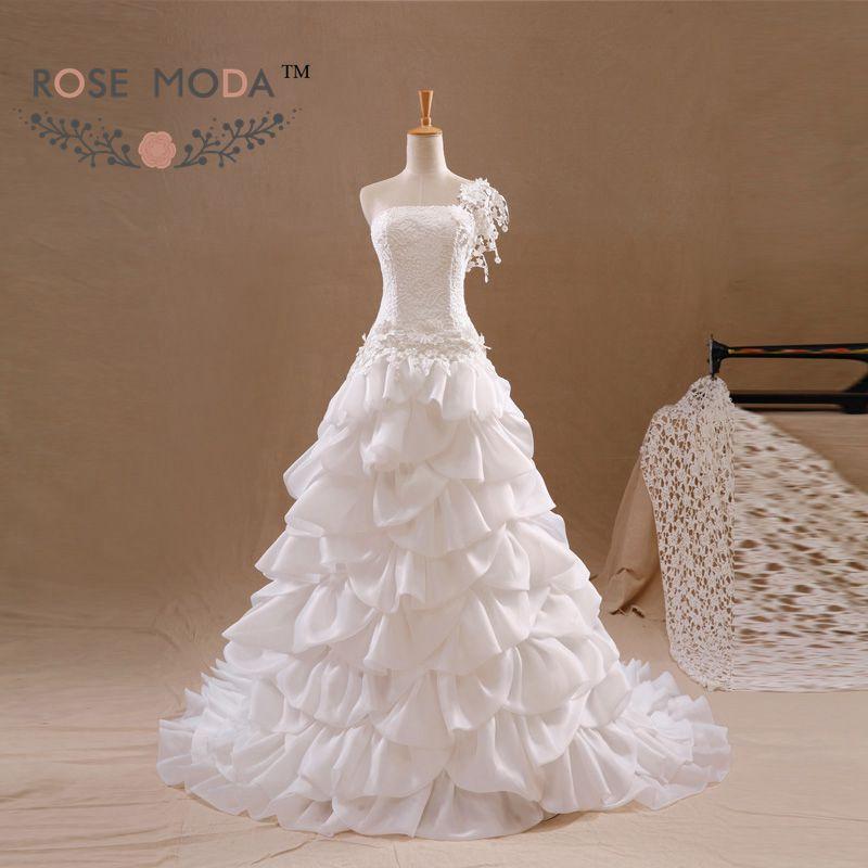 One Shoulder A Line Wedding Dress Pearl Beaded Flowers Lace Corset Vestidos de Noiva Real Photos(China (Mainland))