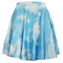 Women Skirt Vogue Women High Waist Short Skater 3d Tattoo Pleated Flared Umbrella Skirt Blue Sky White Cloud Printed Mini Skirts