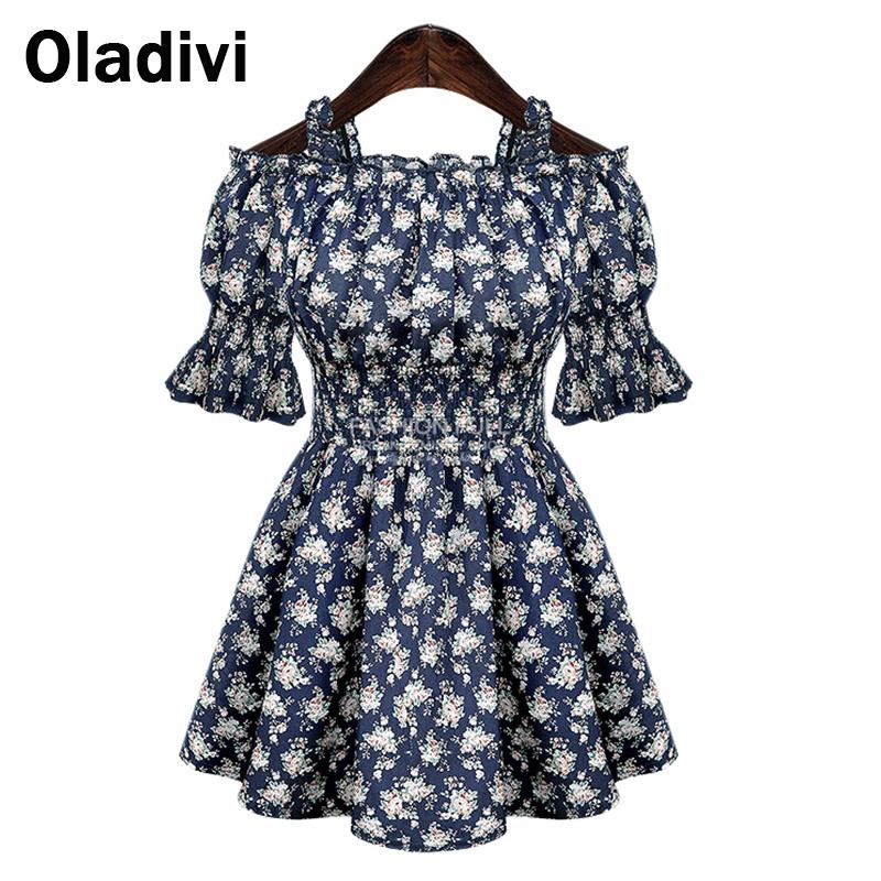 Oladivi 5XL Plus Size 2016 New European Style Slim Elastic Waist Strapless Print Dress Short Sleeve Shoulder Women Shirt Top - official store