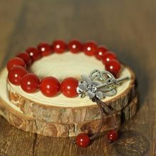 Fashion statement Tibetan silver and agate  bracelet,New Original Ethnic jewelry,Chinese wind national crystal bracelet&bangle(China (Mainland))