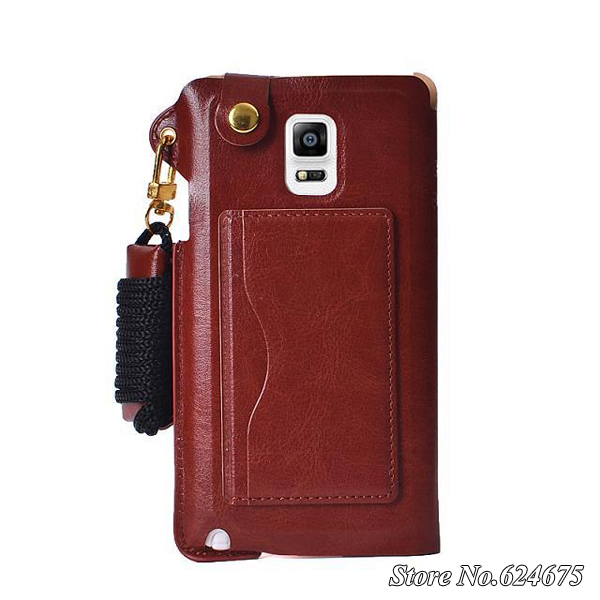 For Note4 Luxury Wallet Leather Case for Samsung Galaxy Note 4 N9100 Stand Design Card Holder Flip Cover Strap Mobile Phone Bag