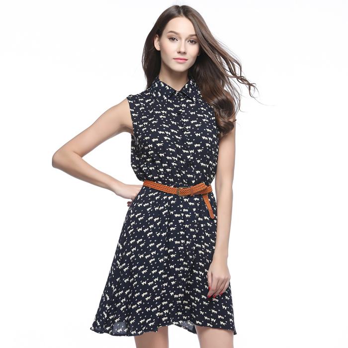 2016 Summer Women Casual EUROPE Style CAT Footprint Dresses Fashion Sleeveless Vestidos De Festa Femininos(China (Mainland))