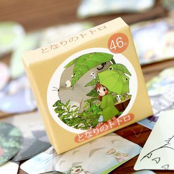 S01 46pcs/pack Kawaii My Neighbor Totoro DIY Stickers Decorative Scrapbooking Diary Album Stick Label Decor Paper