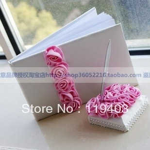 5pieces Signature Collection Guest gift Attendance   Book And Pen Set  Wedding  Accessories  Decoration  Ceremony Supplies