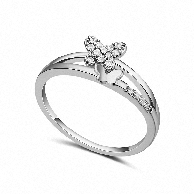 Real Austrian Crystals Brand 18K gold Plated AAA Zirconia Micro Inlays Fashion Ring for women New Butterfly 110728White(China (Mainland))