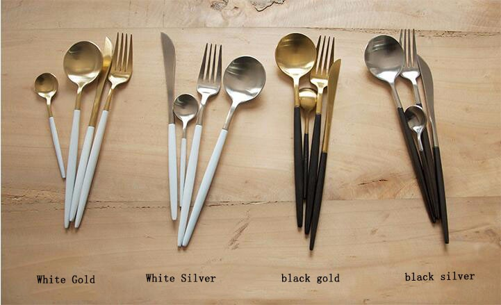 Buy knife set 2016  Portuguese style knife set black gold 304 stainless steel cutlery spoon coffee spoon cheap