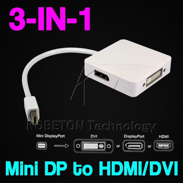 Hot Multi-function 3 in 1 Mini Displayport DP M to DVI HDMI DP Cable Adapter Display port Male to Female for Mac Macbook Pro Air(China (Mainland))
