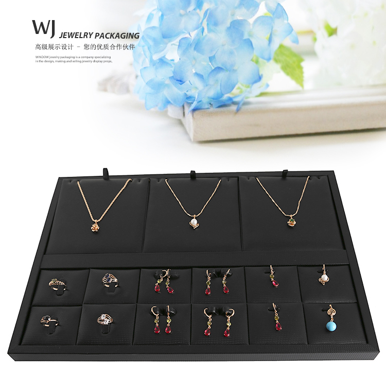 Black PU Leather Compartment Ear Ring Necklace Jewelry Display Tray Set Countertop Showcase Jewellery Multi-functional Organizer(China (Mainland))