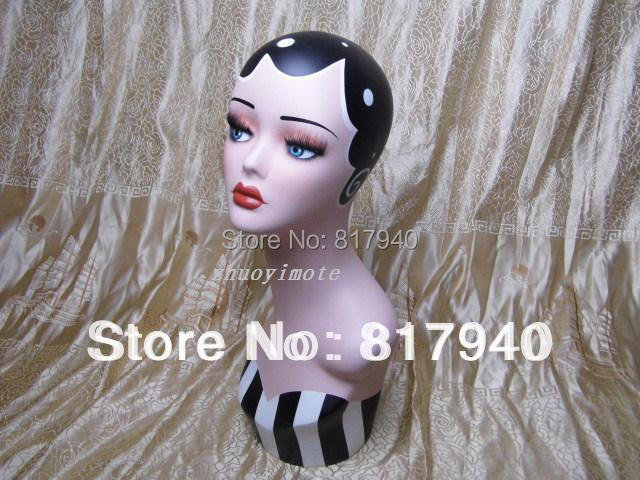 Promotion!High quality Fiberglass vintage female mannequin dummy head bust for earrings &wigs & hat & jewelry display(China (Mainland))