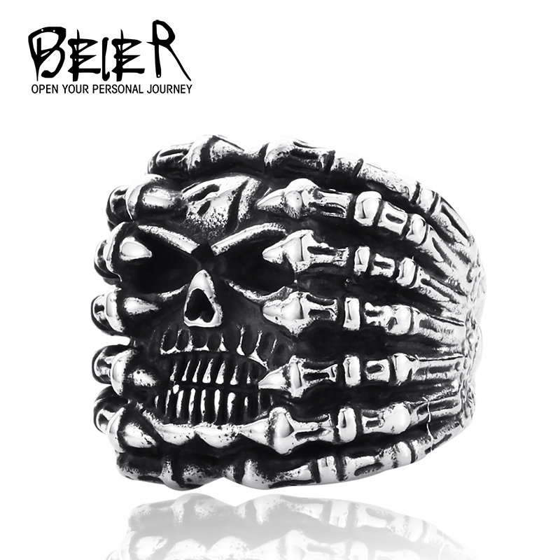 New Arrival!  Big Skull Spider Ring 316L Stainless Steel Punk Biker Ring Top Quality Free Shipping BR8-013(China (Mainland))