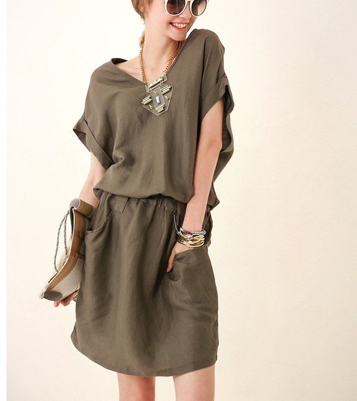 new arrival women causal army green dress girls fashion summer autumn sexy dress club dinner nice clothing short sleeve L #E122(China (Mainland))