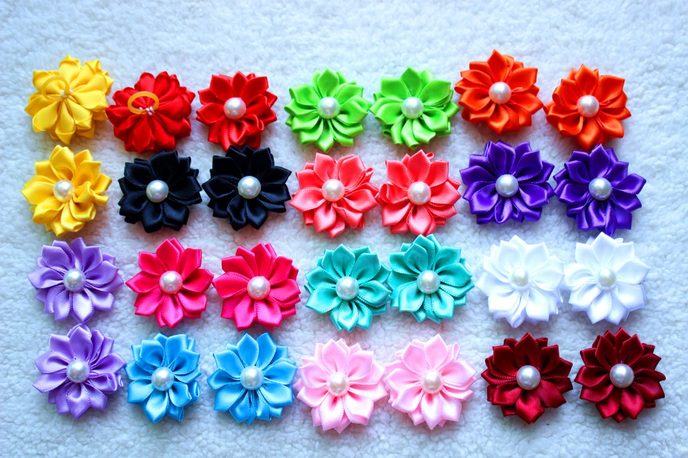 40pcs/lot pet dog hair bows rubber bands petal flowers bows with pearls pet dog grooming bows dog hair accessories product(China (Mainland))