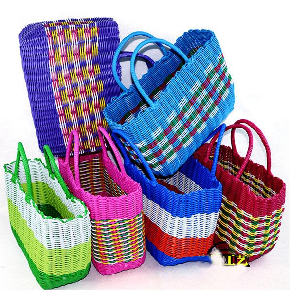 Plastic storage bag woven baskets top-handle bags designer tote bags handbags 2015 hand basket bath bathing blue V10G6(China (Mainland))